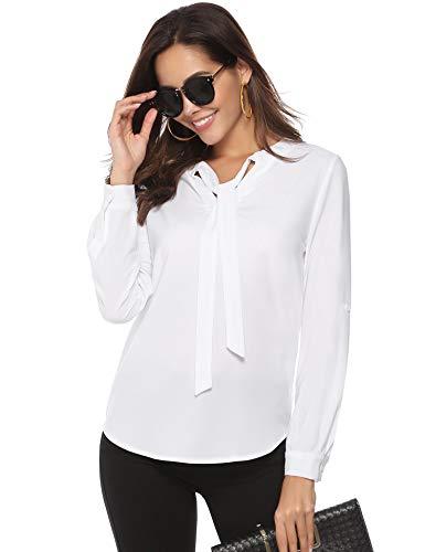 Abollria Damen Chiffon Bluse mit Schleife V Ausschnitt Elegante Schluppenblusen - Bluse Blazer