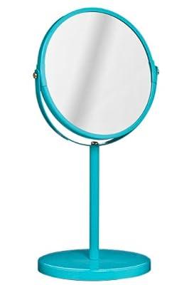 Premier Housewares Runder Kosmetikspiegel, drehbar, mit Ständer, 35x18x18cm, türkis