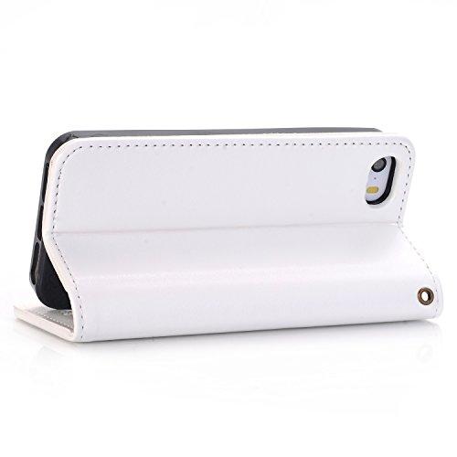 Migliore Choise Flip Case per iPhone 5& 5S & SE Rose in rilievo in pelle PU portafoglio Shell folio standabdeckung w titolare in chiusura magnetica regalo perfetto bianco