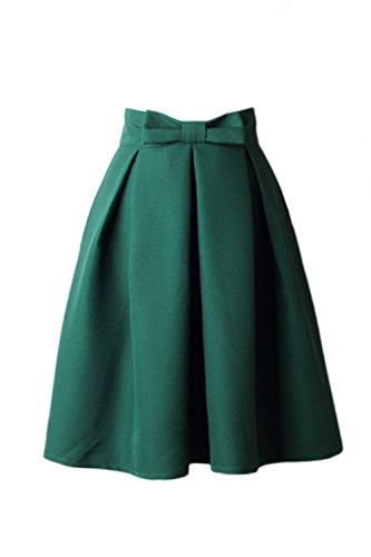 Mujeres Vintage Pajarita Monocolor Plisado Cintura Alta Falda De Tutu De Swing Green M