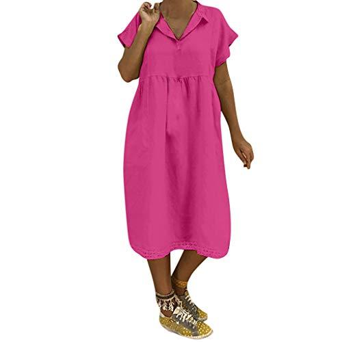 LOPILY Lose Tunika Blusenkleider Damen Sommer Lässige Spitzensaum V-Ausschnitt Kleider Strandkleid Einfarbig Einfach Bequem Freizeit Knielang Sommerkleider Übergröße(Hot Pink,EU-44/CN-2XL)