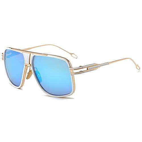 SHEEN KELLY Oversized Super Große Sonnenbrille Damen Großen Brille Square Piloten Retro Metall Rahmen für Herren Sonnenbrille TransparentTransparente Linsen