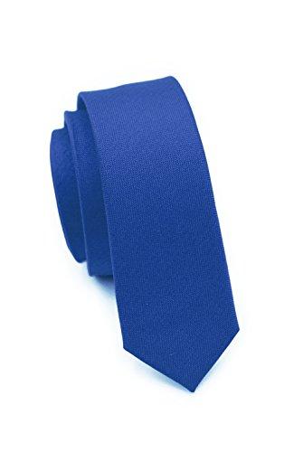 PARSLEY Extra schmale Krawatte, 24 verschiedene Farben, reine Seide, 4 cm, matt, Handarbeit, Skinny / Slim Tie, Business & Alltag (Blau) (Tie Skinny Blaue)