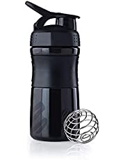 Menzy Shake & Sip Gym Sports Protein Shaker 700ml Bottles for Men - Supplement Powder Mixer Blender Balls Shakers Cup with Spill/Leak Proof Sipper Lid, Black