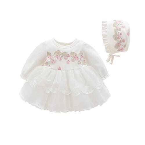 KIMODO Kleinkind Baby Mädchen Kleid Spitze Einfarbig Säugling Langarm Kleider Frühling Tüll Tütü Party Urlaub Prinzessin Outfit Kleidung (Outfits Xmas Hund Großer)