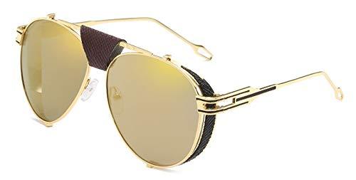 CQYYDD Spiegel Schild Sonnenbrille Uv400 Männer Gold Schwarz Metallrahmen Große Retro Sonnenbrille Für Männer Frauen Gold Spiegel