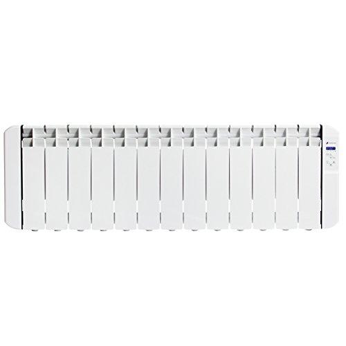 Haverland RC13BL - Radiateur électrique à inertie fluide caloporteur programmable 1500W, idéal pour espaces réduits, indicateur de consommation, utilisation 1-6h/jour, +/- 17-24 m², Blanc