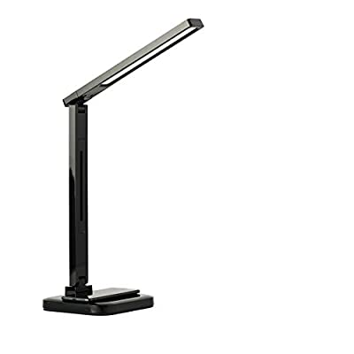 Tech Toys LED Desk Lamp with Qi Wireless Charger and USB Charging Port, 4 Lighting Modes, Dimmer Control, and Touch Control