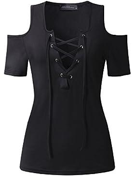 StyleDome Camiseta Mangas Cortas Mujer Cuello Pico con Tiras Deportiva Oficina Chiffón Casual