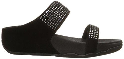 FitFlop Flare Slide, Sandales Plateforme femme - Sable, EU Noir - Black (Black 001)
