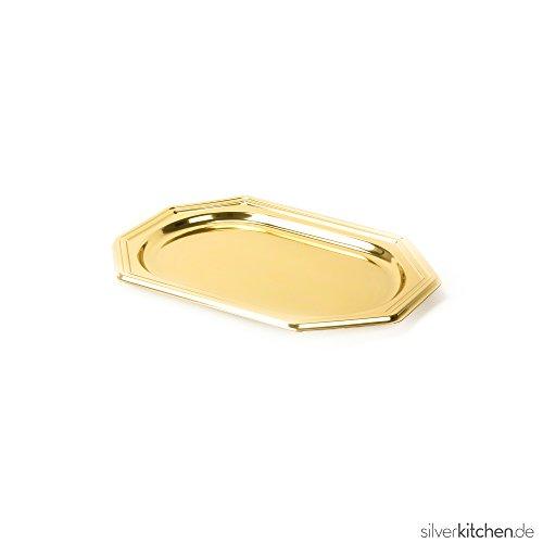 Silverkitchen 5 Stück Einweg Servierplatte aus Plastik für Buffet Promotion Catering Verkostung u.v.m. | Robustes Einweggeschirr in Hochwertiger Qualität | Gold 8-eckig 46 x 30 cm - 5 Stück Buffet
