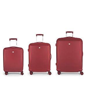 Gabol – Vermont | Set de Maletas de Viaje Rigidas de Color Rojo con Maleta de Cabina, Trolley Mediano y Trolley Grande