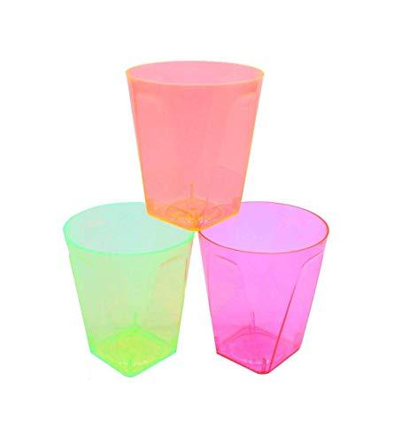 PLASTSCHICK 60 Stück Mehrweg Schnapsgläser Hart Plastik | 5cl (50 ml) Shot Gläser Bunte Mischung | Schnapsbecher Plastik Pinnchen | sicherer als Glas