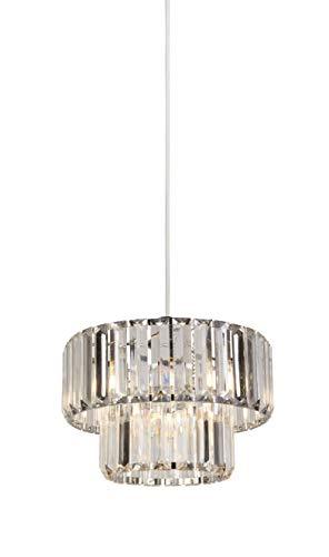Lighting Collection Hängeleuchte, 2-stöckig, kristallähnlicher, klarer Lampenschirm, verchromter Rahmen - Home Eleganz Lattenrost