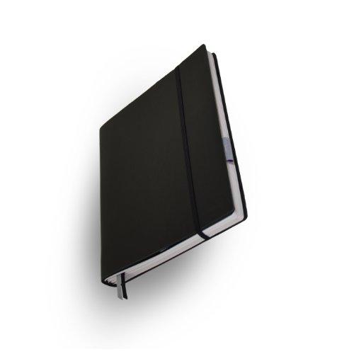 """Whitebook Tailored Notebook, Standard S001-SL, modulares Notizbuch, Rindleder geschnitten, schwarz, 240 S. Papier FSC (iPad Air und Samsung Galaxy Note 10.1"""" (2014 Edition) integrierbar, Inhaltshefte nachfüllbar)"""
