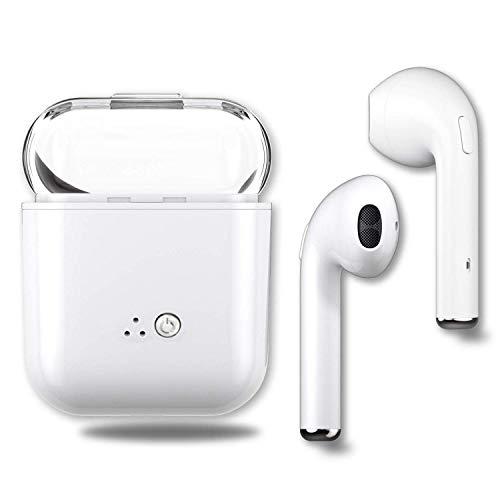 Auriculares Bluetooth Deportivos, Earphones Wireless in Ear Inalambricos Auriculares con Cancelación de Ruido Micrófono, Estación de Carga, Cascos para Movil Samsung Huawei Mi PS4 -Blanco