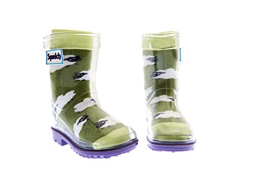 Squelch Unisex Childrens Rain Boots - Transparent Kids Wellies with Colourful Socks - Clear Wellington Boot