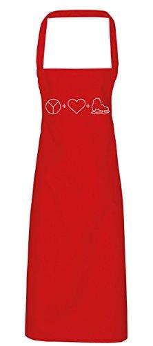 King Ice Kostüm Diy (hippowarehouse Frieden, Liebe und Ice Skate Ikonen Schürze Küche Kochen Malerei DIY Einheitsgröße Erwachsene, rot,)