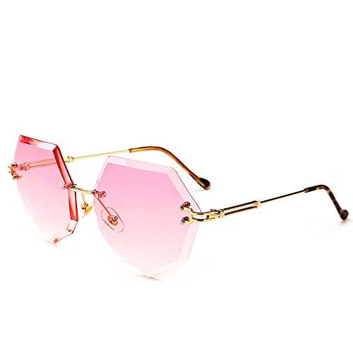 RinV Frauen Mode Trend Achteckig Rahmenlos Sonnenbrillen Farbverlauf Meeresfilm Farbe Sonnenbrillen Strand Fahrspiegel,A