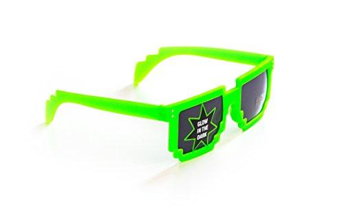 Pixel-Brille Wayfarer-Stil Nerd-Brille leuchtend Grün ohne Sehstärke Sonnen-Brille 15cm Herren Damen Unisex Panto-Brille Wayfarer Klar-Glas Nerd-Brille Geek-Brille Green Glow Dark