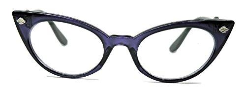 50er Jahre Katzenaugen Brille Cat Eye Modell Klarglas Mode-Brille ohne Sehstärke C95 (lila) (50er Jahre Pin Up Kostüm)