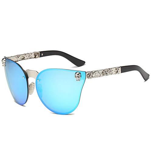 Fashion Damen Gothic Sonnenbrille Totenkopf Rahmen Metall Sonnenbrille Gr. Einheitsgröße, C6-silver-blue