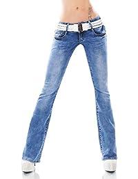Damen Stretch Bootcut Jeans Hose Risse Fetzen Gürtel 34 36 38 40 42 blau acid