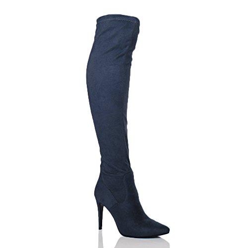Donna tacco alto elasticizzato coscia alta stivali sopra il ginocchio taglia Scamosciato blu scuro marino