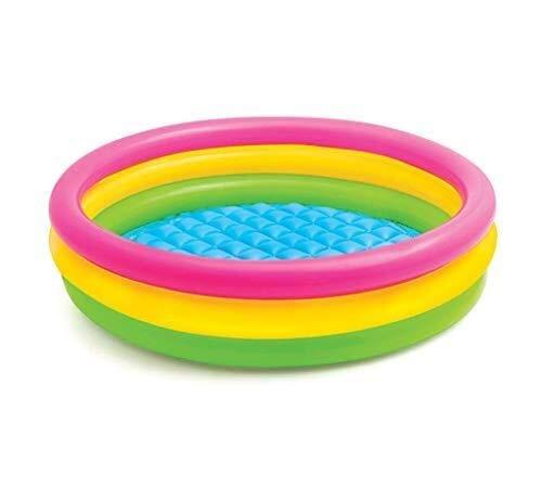 TISS Rechteckiges aufblasbares Familienplanschbecken, Regenbogenfarbe, 147 * 33cm
