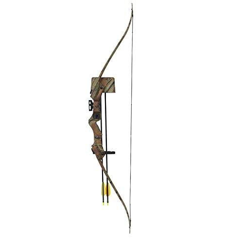Recurve-Bogen-Set Hellbow 20 lbs und 85 fps für Rechtshänder, Tarnfarbe, ein ideales Set für den jungen Schützen -