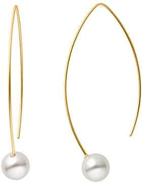 SteelArt by Heideman Ohrhänger Auris mit weißen Swarovski-Perlen Edelstahl Gold