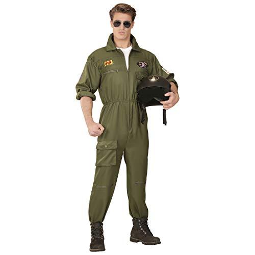 NET TOYS Stilechtes Piloten-Kostüm Herren | Oliv in Größe M (50) | Lässige Männer-Verkleidung Overall Jetpilot | EIN Blickfang für 80er-Party & Karneval