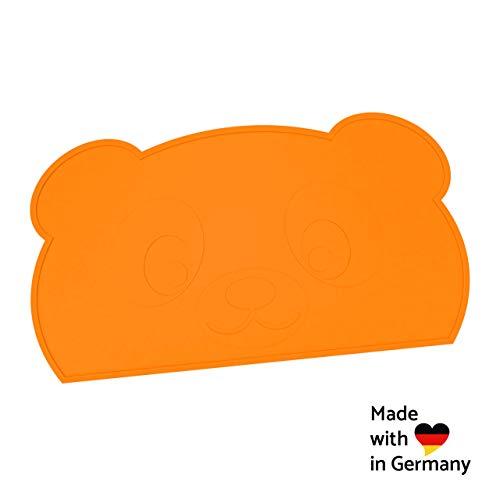 KOKOLIO® Little Panda - Das Tischset für Essanfänger, rutschfest, abwaschbar, Platzset aus Silikon, Platzdeckchen für Kinder, Tischunterlage für Baby, Malunterlage, Made in Germany (Orange)