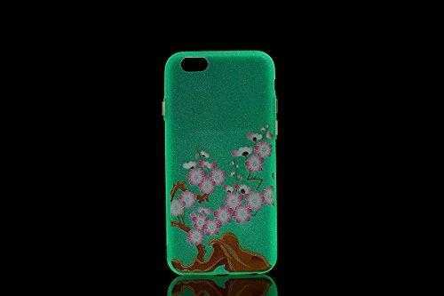 Felfy Silikon Case für iPhone 6 Hülle,iPhone 6S Luminous Cover Ultra Dünne Slim Silikon Etui Handy Hülle Weiche Transparente Luminous Gel TPU Back Case Leuchten In Der Nacht - Felfy Farbe Muster Schut Verdicken Plum Blume