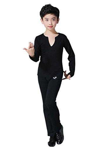 Kostüm Tanz Jungen - KINDOYO Jungen Mode Latein Tanz Kostüme Kinder Klassiker Performance Tanzen Spitze Kurzarm / Lange Ärmel Hemd Jazz Outfits , Schwarz(Langarm) , 170/Geeignete Höhe:155-165cm
