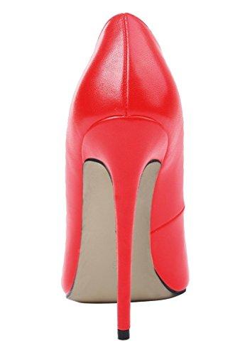 Kolnoo Damen Stiletto High Heels Party Pumps Lack Mode Schuhe Größe Rot