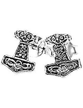 NKlaus PAAR 925 STERLING SILBER Keltische Celtic Ohrstecker Thors Hammer Gesicht 7196
