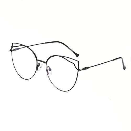 HHL Süße Gläser Mit Feinem Metall, Unregelmäßige Brillenfassungen, Nicht Verschreibungspflichtige Gläser, Sechs Farben (Farbe : SCHWARZ)