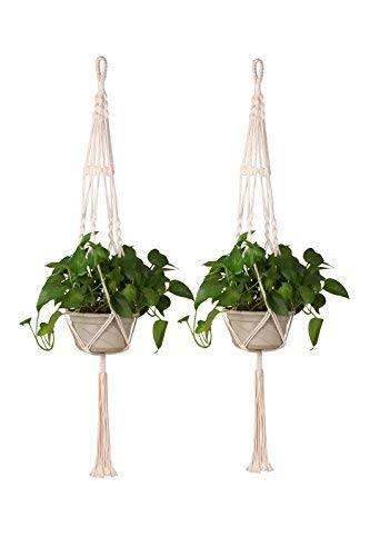Homeey B075PM6BGR Makramee-Pflanzenhalter, Set mit 2 Pflanzkörben für den Innen- und Außenbereich, handgefertigt, Baumwollseil, Wandbehang für Zuhause, 89 cm, Weiß