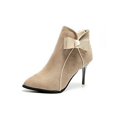 RTRY Scarpe Donna Pelle Nubuck Caduta Molla Comfort Stivali Stiletto Heel Punta Babbucce/Stivaletti Zip Bowknot Per Abbigliamento Casual US7.5 / EU38 / UK5.5 / CN38