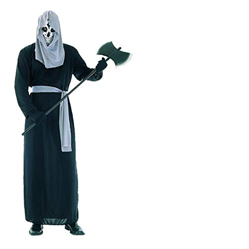 Männliches Kostüm Skelett - ZGCP Halloween Kostüm Parodie schwarze Robe Geister Kostüm Horror Zombie männliche Geister Kleidung Zombie Kostüm Requisiten leuchtendes Skelett