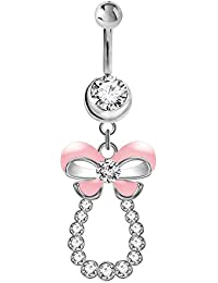Piercing nombril nœud papillon avec des cristaux par BodyTrend
