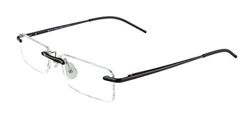 Edison & King Lesebrille Free randlose Brille aus Aluminium mit Federscharnieren - extra leicht (ohne Entspiegelung, Tiefschwarz, 1,00 dpt)