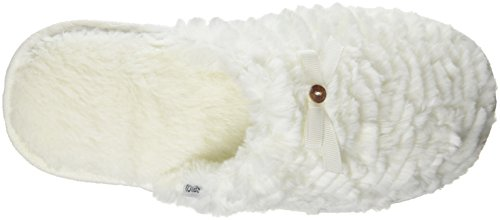 Totes - Totes Ladies Textured Fur Mule Slipper, Pantofole Donna Bianco (bianco grezzo (panna))