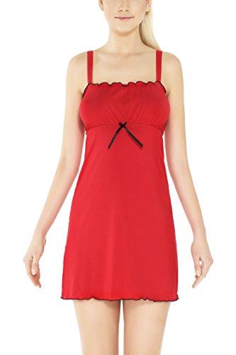 m.Lyra Damen Nachtwäsche Negligee aus Viskose Pia (XS - 2XL) Rot