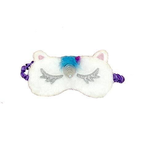 dressfan Unicornio Máscara para Dormir Máscara de Ojos Linda Unicornio Cuerno Felpa Suave Sombra De OjosPara Mujer Niña Con Orejas