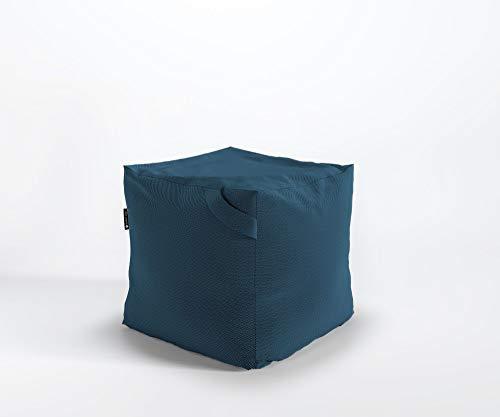 Designer Sitzpouf FIKKA Pouf Lounge Sitzsack Granulat Webstruktur Queens, Farbe :Q22 - Blau-Grün