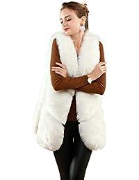 Amazon.it  ecopelliccia - Bianco   Giacche e cappotti   Donna ... 3ead93d8296