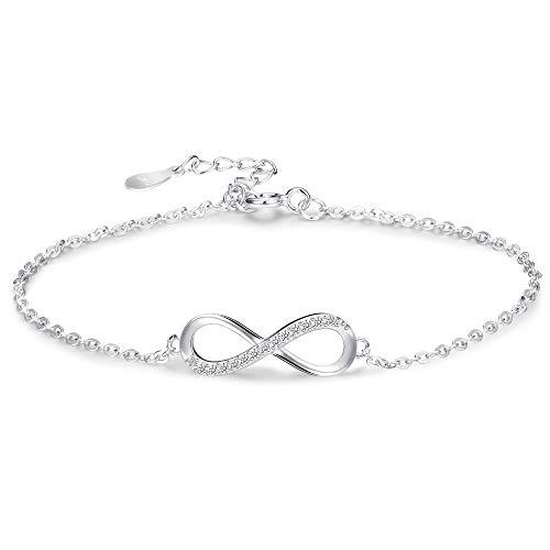 BE STEEL 925 Sterling Silber Armband Infinity für Damen Mädchen Liebe Armband Kette Fußkettchen mit Zirkonia Geschenk Jahrestag SI