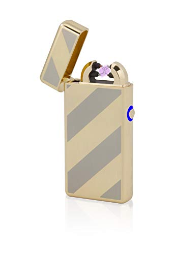 TESLA Lighter T08 | Lichtbogen Feuerzeug, Plasma Double-Arc, elektronisch wiederaufladbar, aufladbar mit Strom per USB, ohne Gas und Benzin, mit Ladekabel, in Edler Geschenkverpackung, Gold gestreift